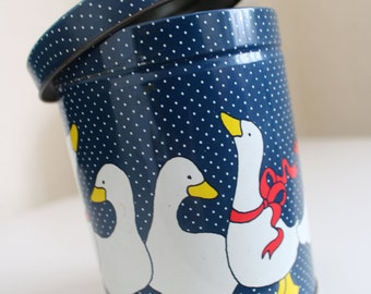Vintage Tin -Navy Polka Dots with Ducks -  Retro Home - Kitsch Kitchen - Round Metal Tin - Birds-storage - cylinder tin - storage