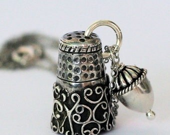 Acorn and Thimble Necklace, Peter Pan and Wendy Hidden Kisses Necklace in Solid Sterling Silver