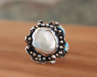 Bowl Ring, Designer Pearl Ring, Granulated Ring, Sterling Silver White Pearl Ring, Metalwork Art Jewelry