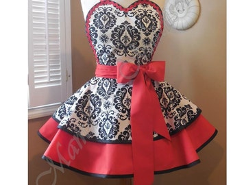 Damask Print Woman's Retro Apron Accented In Red, Featuring Heart Shaped Bib