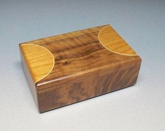 Figured Walnut, Maple & Cherry Basketball Court Looking Top Box, Sports Box, Small Wooden Box, Desk Accessory.