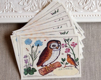 Botanical Bird  Owl Bookplate Stickers- Vintage Inspired-Acid Free- #3 in a series of 3