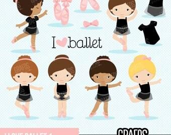 I LOVE BALLET 1 - Digital Clipart Set,  Ballerina Clipart, Ballet Clipart, Tutu Clipart, Ballet Slippers.