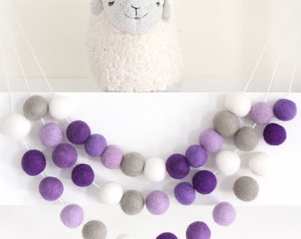 Ombre Purple Garland- Nursery Decor- Purple Felt Ball Garland-Pom Pom Bunting- Baby Shower Decor- Purple Pastel Decor- Purple Nursery Decor