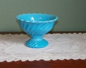 Antique Portieux Vallerysthal COMPOTE Bowl PV blue opaline glass France French