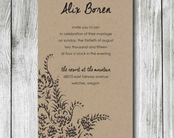 Wedding Invitation - DIY Printable Wedding Invite - Paisley Design Wedding Invitations