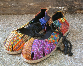Vegan Womens Espadrilles With Ankle Wrap, Patchwork Hmong Embroidery Shoes - Dahlia Wrap