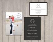 Modern Wedding Invitation & RSVP Card (Printable) by Vintage Sweet