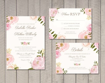Vintage Floral Wedding Invitation, RSVP, Details Card (Printable) by Vintage Sweet