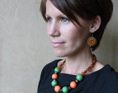 Orange Green Beaded Necklace Statement Necklace Chunky Necklace Boho style Necklace Orange Green Copper Fall jewelry