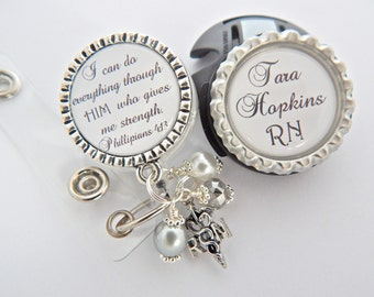 Personalized STETHOSCOPE ID Tag and Rn Badge Reel Scripture Jewelry, Bible Verse Jewelry Faith Medical Dr, Lpn, Lvn, Pa, Graduate Gift