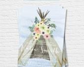 Watercolor Boho Bridal Shower Invitation- 5x7 - Teepee - Flowers - Hipster - Digital Printable File - Cardstock