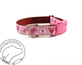 "Love Letters Valentine Dog Collar - 1"" (25mm) Wide - Martingale or Quick Release Buckle Dog Collar - Choice of size and style // Pink // Red"