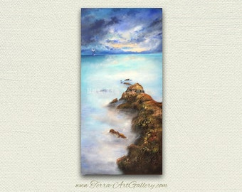 """After The Storm, 18""""x36"""" original acrylic painting, textured. Sea shell beach home decor, nautical, lighthouse, peaceful"""