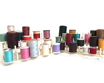 Assorted Lot of 28 Sewing Thread Spools with Plastic Storage Tower, Sewing Notions, Supplies, Polyester Cotton Thread Yardage, Sewing Room,