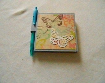 Post it Note Holder with pen blue
