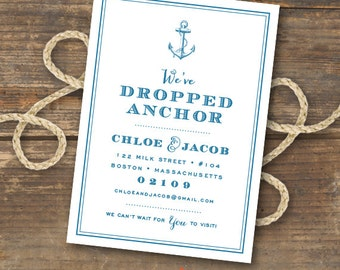 Nautical Anchor Moving Announcement Printable - New Address Card