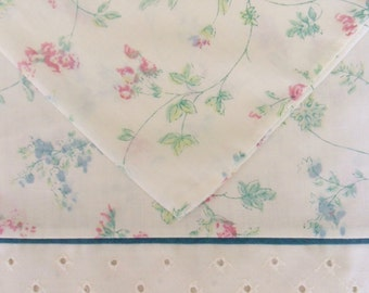 Pair of Percale Pillowcases, Pink and Blue Flowers on an Ivory Background, Lady Pepperell Standard Size Pillowcases