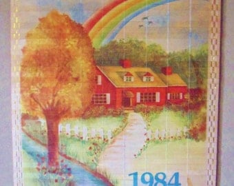 Country Cottage Bamboo Calendar, 1984 Giftco Calendar, Reversible Four Seasons Scenes