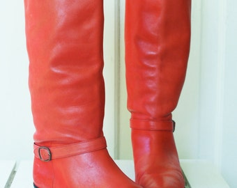 Boots - Red Leather Knee Slouch Size 7M Brazilian with gold buckle accent