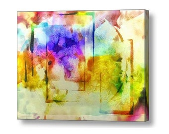 Bright Colorful Abstract Garden Flowers Spring Summer Geometric Modern Contemporary Digital Art Painting on Large Gallery Wrap Canvas