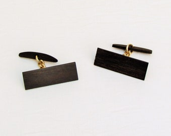 Vintage ebony cuff links, men's c.1970's wooden cuff links, modern style cuff links