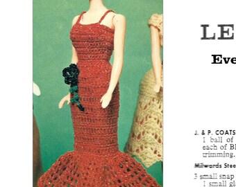 1960s Doll Evening Gown 11 1/2 Barbie - Crochet pattern PDF 0151