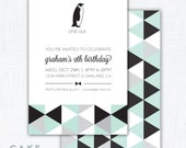 "Geometric Penguin Party Invitation Printable ""Chill Out"""