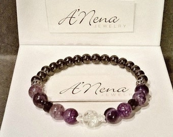 "Unisex  Bracelet,Hematite, Fire Agate, Faceted Azabache, Rock Clear Quartz & Silver Plated Copper ""I Am Limitless"" By ANena Jewelry"
