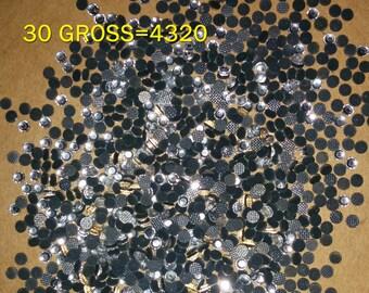 4320 Pcs. (30 gross) SS10 Hot Fix Iron On, Clear Heat Transfer Crystal Rhinestones.