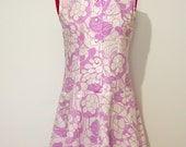 Vintage 60s purple & white psychedelic mini shift dress size 10-12