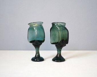 Two Vintage Studio Art Glass Wine Glasses