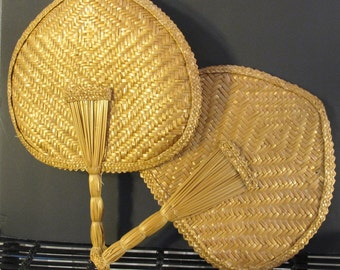 VIntage 80's  pair of natural wicker hand fans