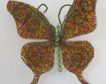 Vintage 90's large glass bead and wire butterfly