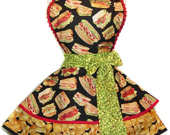 """Exclusive """"Chips, Chips, Chips!"""" Retro Deli Sandwiches Apron-Ready To Ship & Only from Tie Me Up Aprons"""