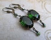 Emerald Green Earrings Art Deco Earrings Gothic Earrings Steampunk Earrings Art Nouveau Green Crystal Earrings Brass Earrings- Miss Fisher