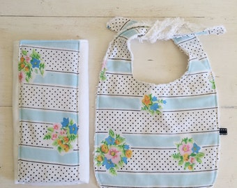 Funky Vintage Floral + Black Polka Dot Baby Bib + Burp Cloth Gift Set