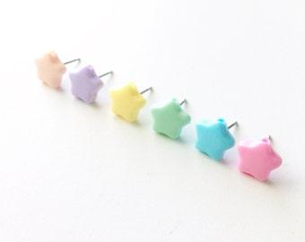 Pastel Star Stud Earrings, Tiny Star Earrings, Star Post Earrings, Heart Stud Earrings