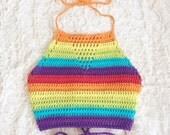 Rainbow Crochet Halter - Handmade Crop Top - Cotton Vegan Clothing - Unisex, Festival Top - Made to Order - Noelebelle
