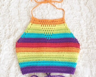 Rainbow Crochet Halter - Crop Top - 100% Cotton - Handmade Vegan Clothing - Unisex, Festival Top - Made to Order - Noelebelle