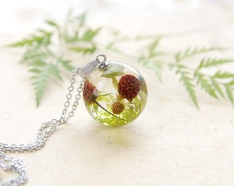 Wild Stawberry Necklace - Real fruit jewelry - berries gift for vegan - sweet summer vegetarian necklace