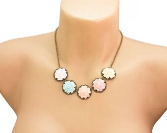 Flower Necklace. Polymer Clay Rose Statement Necklace. Romantic Pastel Bib Necklace. Antique Brass. Handmade Jewelry Flower Jewelry