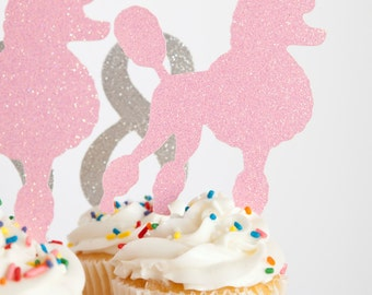 Paris Party French Poodle Cupcake Toppers, set of 18