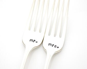 Mr and Mrs place setting hand stamped forks for engagement gift. By Milk & Honey.
