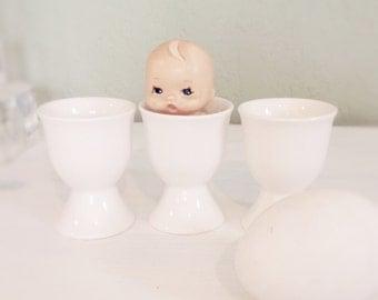 Vintage Egg Cups, Stoneware All White, Ceramic, Cottage Decor