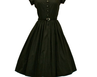 50's/60's Custom Fit and Flair Dress, retro Black Fit and Flare Dress, Short Sleeved Dress