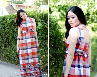 Vintage 1970s Boho Chic American Girl Prairie Maxi Dress - Red, White, and Blue Check Dress with Ruffles - Size Small