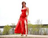 Sexy red dress, halter Xena vixen diva dance costume show girl burlesque leotard, maxi long satin M L XL SALE