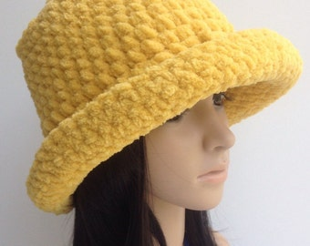 Hand Crochet Floppy Hat....Winter Cloche Hat... Winter  Hat...Crochet Bucket Hat