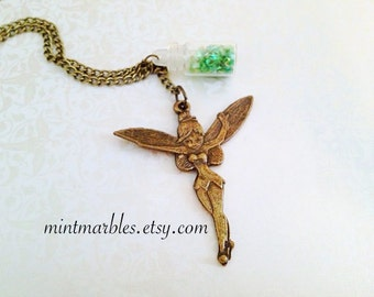 Magical Fairy Glitter Necklace. Vintage Style. Brass. Antique Gold. Small Glass Bottle. Wish. Green. Long Necklace. Whimsical.